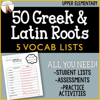 Greek & Latin Roots Vocab Unit - No Prep Lists/Tests - 6 Wk. Unit Study
