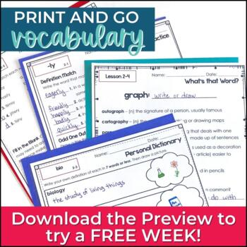 Greek & Latin Roots Word Study Vocabulary UNIT 2 for Grades 3-4