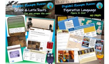Greek & Latin Roots and Figurative Language Digital Escape Room Bundle