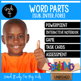 Greek & Latin Word Parts SUB, FORE, INTER Spelling Word Study