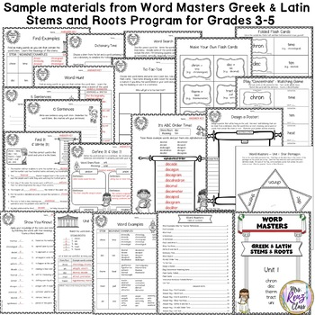 Greek and Latin Stems and Roots Sampler FREE Week of Word Masters!