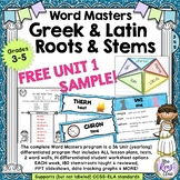 Greek and Latin Stems and Roots Sampler - Unit 1 - FREE We