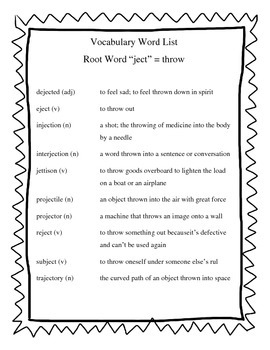 Greek & Lating Root Words - JECT