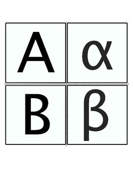 Greek Letters flash cards