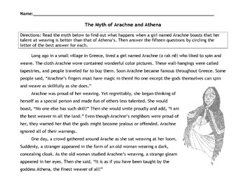 Greek Myth ARACHNE and ATHENA w/ 15 Multiple Choice Reading Comprehension Qs