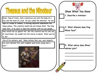 "Greek Myth Close Read ""Theseus and the Minotaur"""