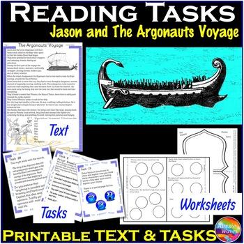 Greek Myth JASON & the ARGONAUTS VOYAGE Text & Task Cards Reading Comprehension