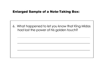 Greek Myth: KING MIDAS and GOLDEN TOUCH w/ 8 Question Note-Taking Frame Strategy