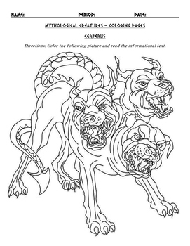 Greek Mythological Creatures And Monsters Coloring Page And Informational Text