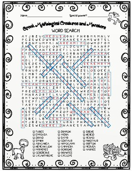 Greek Mythological Creatures and Monsters Word Search