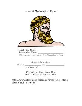 Greek Mythological Trading Card