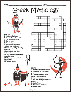 Ancient Greek Mythology Crossword Puzzle