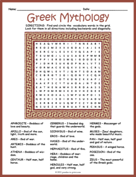 Ancient Greek Mythology Word Search Puzzle