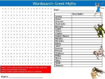 Greek Mythology #2 Wordsearch Puzzle Sheet Ancient History Myths Legends