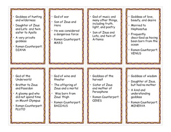Ancient Greek Mythology Gods, Heroes, Creatures and Places FLASHCARDS