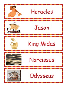 Ancient Greek Mythology Gods, Heroes, Creatures and Places WORD WALL