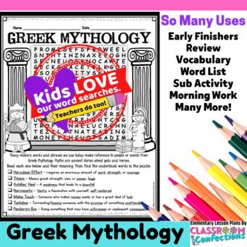 Greek Mythology Activity: Greek Mythology Word Search