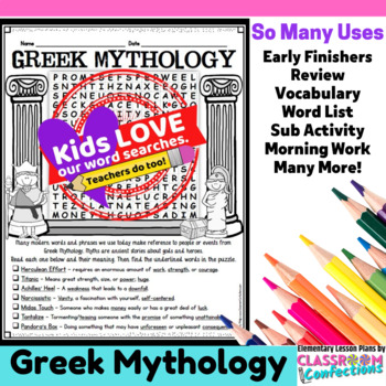 Greek Mythology Activity: Greek Mythology Word Search