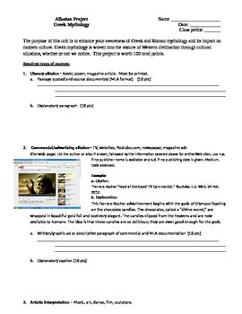 Greek Mythology Allusions Project- assignment guidelines
