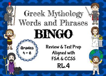 Greek Mythology BINGO - Aligned with FSA & CCSS