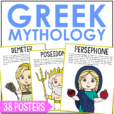 Greek Mythology Characters Poster Set with Short Biographies
