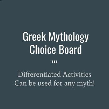 Greek Mythology Choice Board-Differentiated Actvities