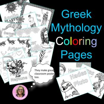 Greek Mythology Coloring Pages: Mini Posters