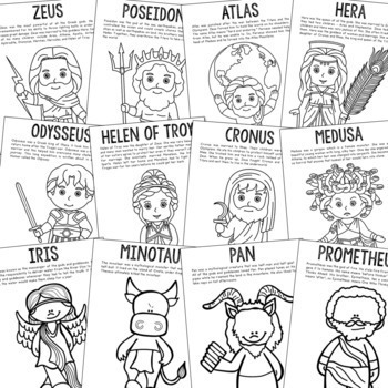 12 Greek Mythology Coloring Page Crafts or Posters with Short Biographies