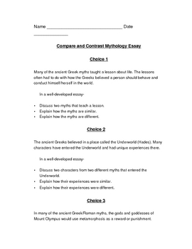 Greek Mythology Compare and Contrast Essay Assignment