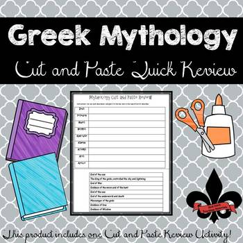 Greek Mythology Cut and Paste Review--NO PREP