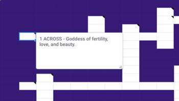Greek Mythology - Digital Crossword (works with Google Sheets, Classroom)
