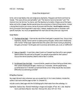 Good Proposal Essay Topics Greek Mythology Essay  Proposal Example Essay also Where Is A Thesis Statement In An Essay Greek Mythology Essay  By Megan Altman  Teachers Pay Teachers Apa Format Essay Example Paper