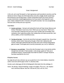 Writing A High School Essay Greek Mythology Essay  Science Essay Topic also English Essay Question Examples Greek Mythology Essay  By Megan Altman  Teachers Pay Teachers Essay Writing Examples For High School