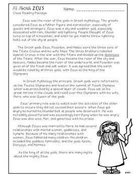 Greek Mythology God u0026 Goddesses Close Reading Passages by Free to Teach