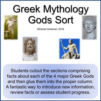 Greek Mythology Gods Cutout and Sort Grades 3-5