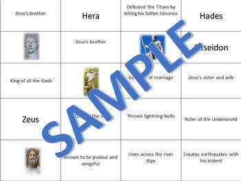Greek Mythology Gods Cutout Sort and Paste Grades 3-5