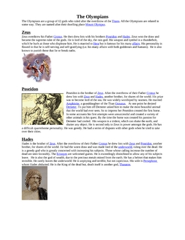 Greek Mythology Gods Handout-4 Pages