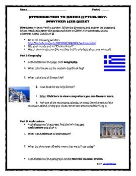 Greek Mythology Interactive Web Quest