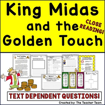 King Midas and the Golden Touch Greek Mythology with Passages and Questions