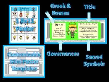 Greek Mythology Mini Poster Cards & Micro Books Common Core