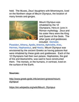Greek Mythology: Mt. Olympus