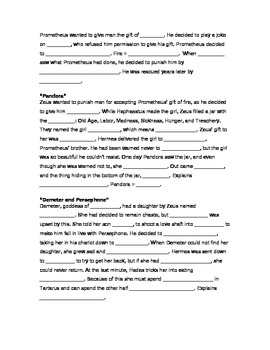 Greek Mythology Note Sheet and Answer Key