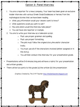 Greek Mythology Project (Odyssey Pre-Reading Differentiated Activity)