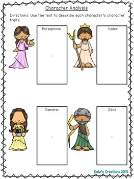 Greek Mythology: Persephone- Differentiated Readings & Comprehension Activites