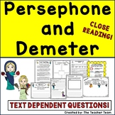 Persephone and Demeter   Reading Passages and Questions