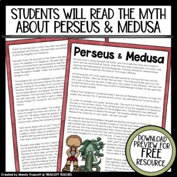 """Greek Mythology ... """"Perseus & Medusa"""" Myth & Questions"""