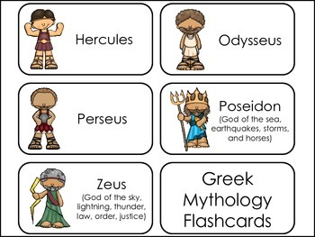 Greek Mythology Picture Word Flash Cards.