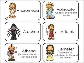 Greek Mythology Picture Word Flash Cards.