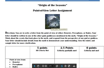 Greek Mythology Point of View Letter