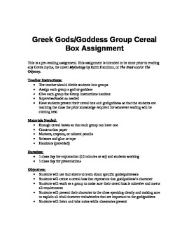Greek Mythology Pre-Reading Cereal Box Assignment